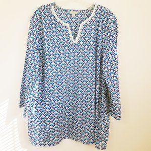 Talbots Women's Blue Lace Cotton Top Shirt Blouse